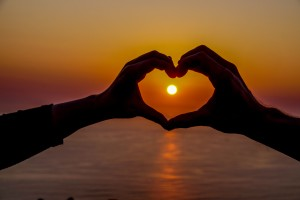 Love Heart Hands Sunset in Cape Town, South Africa